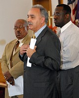 PHOTO BY CLARKE CONDE - Announcing the findings (from left): the Rev. Willie Harvey, Superintendent Manuel Rivera, and the Rev. Marlowe Washington.