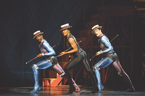 "Anthony Wayne, Patina Miller, and Andrew Fitch in ""Pippin."" The musical will be presented by Rochester Broadway Theatre League in January. - PHOTO BY JOAN MARCUS"