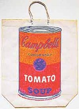 """Art to go: Andy Warhol's """"Campbell's Soup Can on Shopping Bag.""""</"""