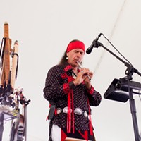 [ Slideshow ] Ganandogan Dance & Music Festival Arvel Bird of Idaho's Southern Paiute tribe performs under the Performance Tent at the Ganondagan festival in Victor, NY. This is Arvel's third year appearing at the festival. PHOTO BY MATT BURKHARTT