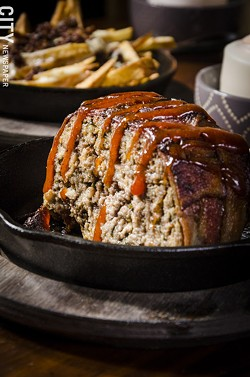 "At Nox: ""His Name Was Robert Paulson,"" is an applewood-smoked bacon-wrapped meatloaf - PHOTO BY MARK CHAMBERLIN"