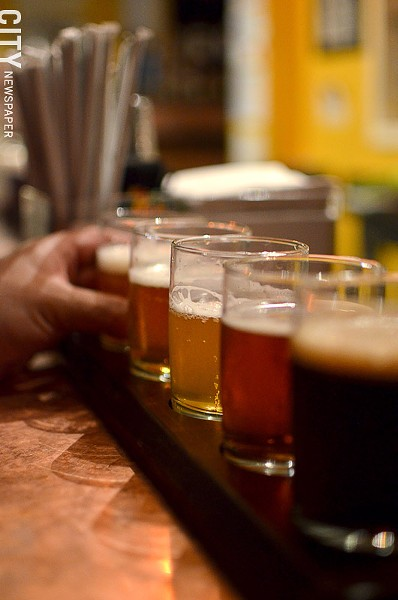 Bandwagon Brewery tester flight from Bandwagon Brew Pub. - PHOTO BY MATT DETURCK