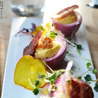[ Slideshow ] The Revelry Beet deviled eggs with mustard seed and bacon. PHOTO BY MATT DETURCK