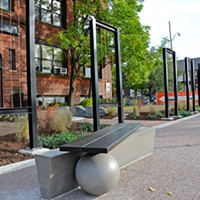 Art Walk Extension Benches, landscaping, and more in front of 250 N. Goodman Street. PHOTO BY MATT DETURCK