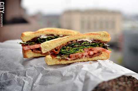 BLT on toast from Tedwards Cafe and Catering. - PHOTO BY MATT DETURCK