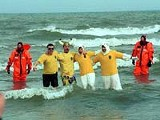 Brave souls take a Polar Plunge at the 2003 Lakeside Winter Celebration in Charlotte.