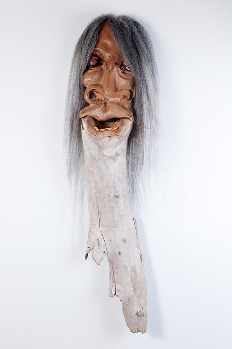"""Brody's """"Soothsayer"""" is made of cherry, driftwood, fingernail shells, and hair - PHOTO COURTESY HANNAH BETTS"""