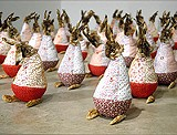 "Bunny bodies, all in a row: Laura Ledbetter's ""Two Coats."""
