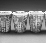 PHOTO BY JULIA GALLOWAY - Ceramic homage: Julia Galloways architecture-adorned cups.
