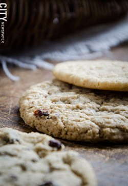 Chocolate chip, oatmeal raisin, and peanut butter cookies from Ellie's. - PHOTO BY MARK CHAMBERLIN