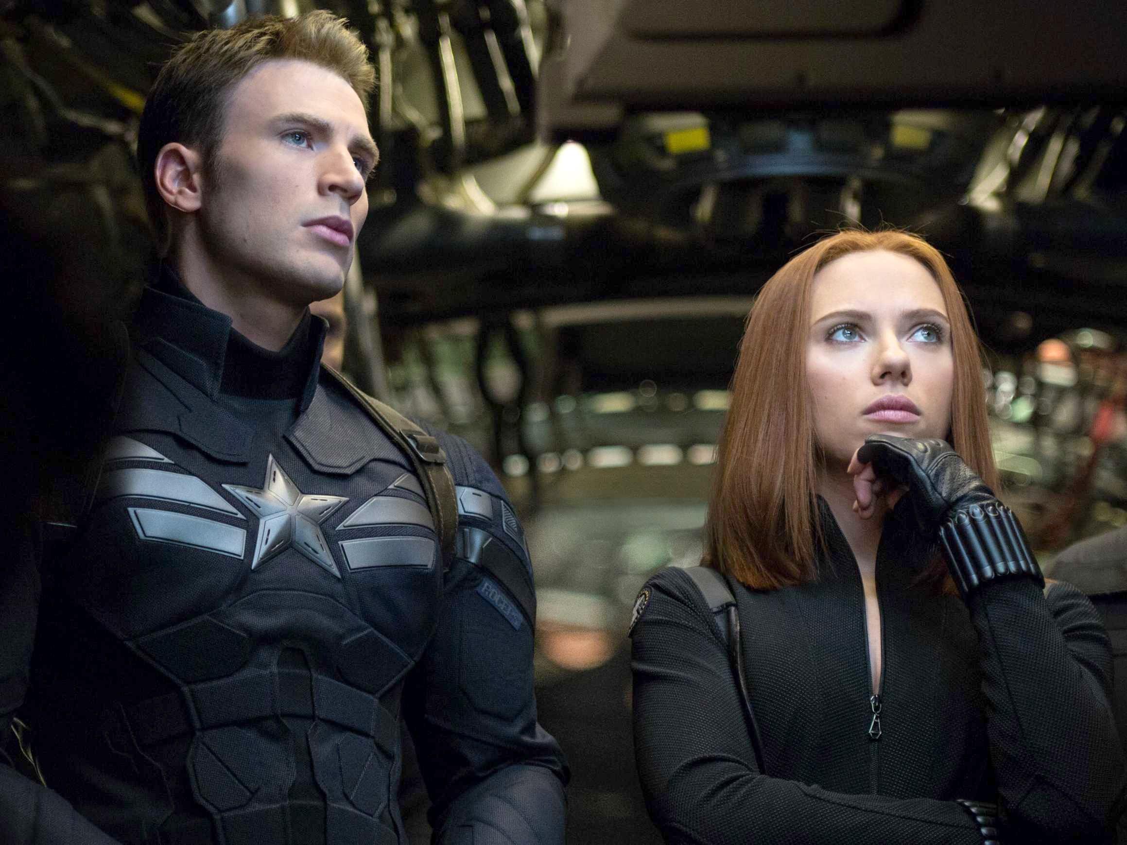 "Chris Evans and Scarlett Johansson in ""Captain America: The Winter Soldier."" - PHOTO COURTESY MARVEL STUDIOS"