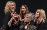 """PHOTO BY STEVEN LEVINSON - Clockwise form left: Daughters Kerry Young, Stephanie Sheak and Allison Roberts, try to detox their mother, Denise Bartalo in """"August: Osage County,"""" now at JCC Centerstage."""