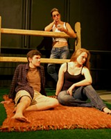 "PHOTO BY MELYSSA HALL - (Clockwise from left) Timothy Ellison, Victoria Schellenberg, and Haven Shea in a scene from ""Cow Town."" The play, written by Spencer Christiano and directed by Melyssa Hall begins Thursday, July 24, at MuCCC."
