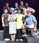 "PHOTO BY STEVEN LEVINSON - Clockwise from upper left: Ralph Meranto, Mary Tiballi, Matt Mayne, Jonathan Ntheketha, David Munnell, Sammi Cohen, Jodi Beckwith, and Laura Marron in ""Working."""