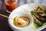 Combination Satay (Chicken and Beef Skewers with Peanut Sauce) from Esan Thai. - PHOTO BY MARK CHAMBERLIN