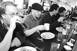 PHOTO BY FRANK DE BLASE - Counter culture: Veluxe chows down at Highland Park Diner.