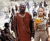 "Croft. Lara Croft: Djimon Hounsou and Angelina Jolie in ""Tomb Raider: The Cradle of Life."""