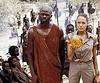 "Croft. Lara Croft: Djimon Hounsou and Angelina Jolie in ""Tomb Raider: The Cradle of Life."""