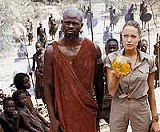 "PARAMOUNT PICTURES - Croft. Lara Croft: Djimon Hounsou and Angelina Jolie in ""Tomb Raider: The Cradle of Life."""