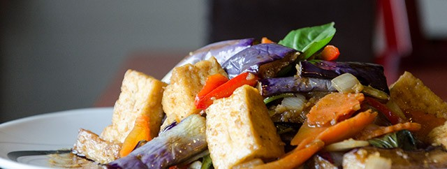 Eggplant with basil and tofu from Thai Time Cuisine in Henrietta.