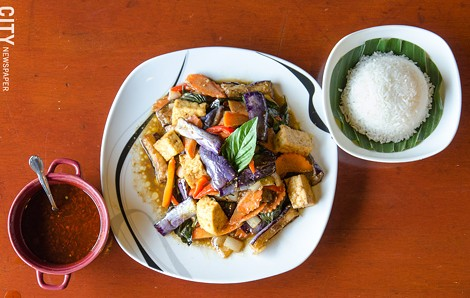 Eggplant with basil and tofu from Thai Time Cuisine. - PHOTO BY MARK CHAMBERLIN