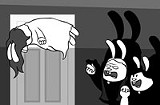 """JENNIFER SHIMAN - Exorcise her, she's rabbit: a still from the Bunny Remake of """"The Exorcist."""""""