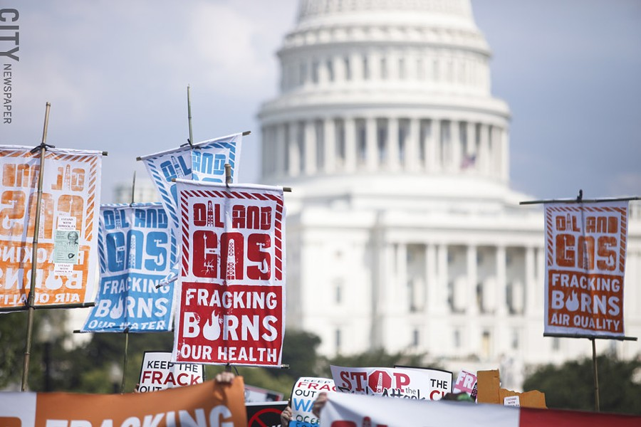 Fracking opponents marched on Washington, D.C. in July. - FILE PHOTO