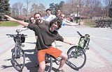 PHOTO BY RICHARD BAKER - Free can be fun: UR's Andrew Hall and his madcap crew of cyclers.