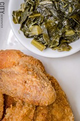 Fried chicken and collard greens. - PHOTO BY MARK CHAMBERLIN