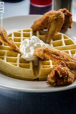 Fried chicken and waffles from The Arnett Cafe. - PHOTO BY MARK CHAMBERLIN
