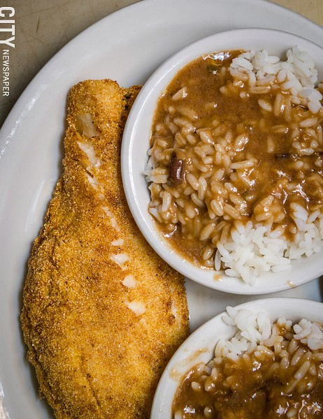 Fried haddock, rice, and pork gravy  from Unkl Moe's - PHOTO BY MARK CHAMBERLIN