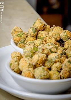 Fried okra from Unkl Moe's. - PHOTO BY MARK CHAMBERLIN