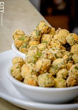 Fried okra from Unkl Moe's. - PHOTO BY MARK CHAMBERLIN