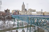PHOTO BY MARK CHAMBERLIN - Friends of the GardenAerial envision an arboretum on the Pont de Rennes bridge in High Falls.