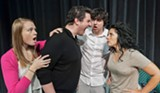 "PHOTO BY STEVEN LEVINSON - (From left to right) Samantha Buckman, Carl Del Buono, Janine Mercandetti, and Justin Borak appear in ""Bad Jews,"" now in production at JCC CenterStage."