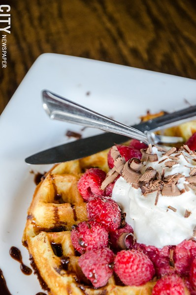 Ghirardelli Chocolate Raspberry Waffles from Corn Hill Landing's Harvest Cafe. - PHOTO BY MARK CHAMBERLIN
