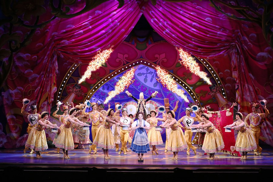 "Hilary Maiberger as Belle with the cast of Disney's ""Beauty and the Beast."" - PHOTO BY JOAN MARCUS"