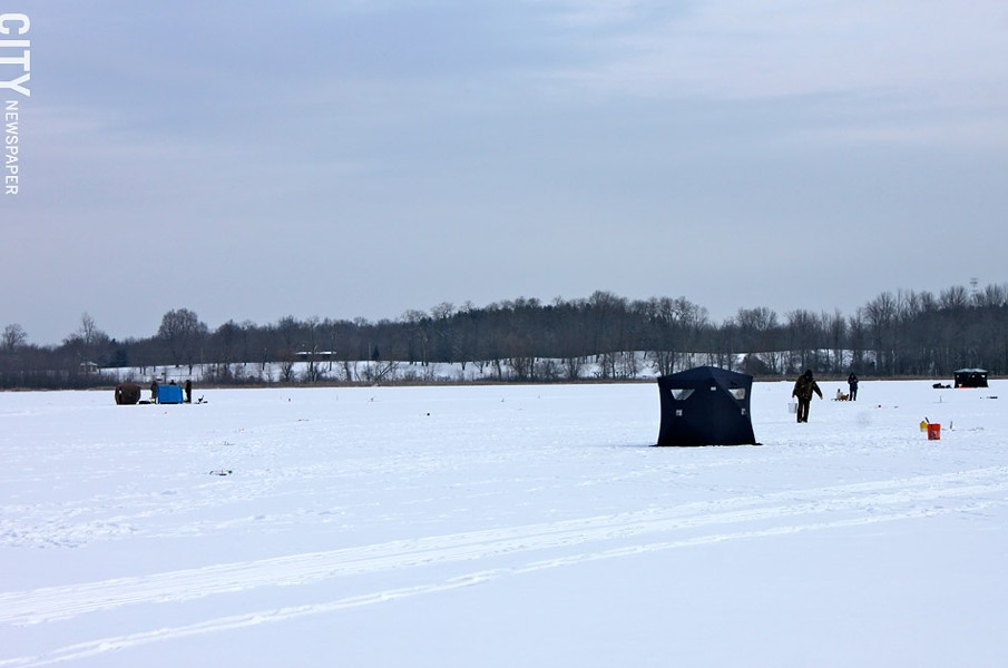 Ice fishermen shanties at Mendon Ponds Park. - PHOTO BY KATHY LALUK