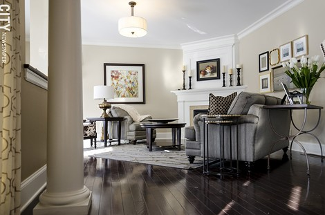 Inside a brownstone model unit at The Reserve, in Brighton. - PHOTO BY MARK CHAMBERLIN
