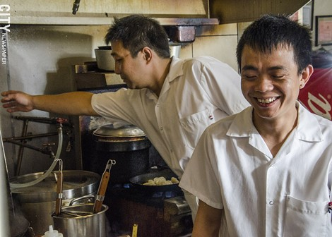 Inside the kitchen at Han Noodle Bar. - PHOTO BY MARK CHAMBERLIN