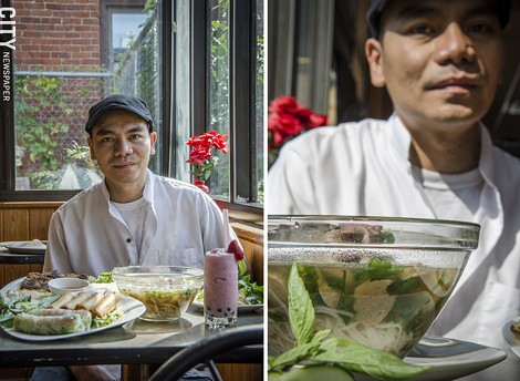 Jake Pham with pho, egg rolls, and a strawberry boba smoothie at Whatta-Cuisine. Pham came to Rochester from Vietnam when he was 8 years old. - PHOTO BY MARK CHAMBERLIN