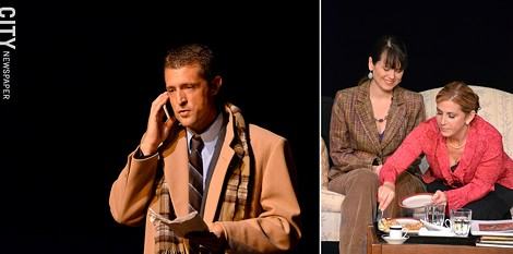 "James Heath (left) and Gretchen Woodworth with Jennifer Blatto-Vallee (right) in ""God of Carnage"" - PHOTO BY MATT DETURCK"