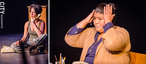 """Jay O'Leary (left) and Denise Herrera (right) in """"W.A.C. Iraq"""" - PHOTO BY MARK CHAMBERLIN"""