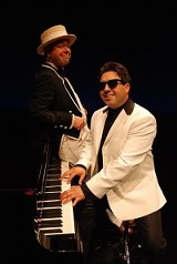 "Joel Mason and David James in ""The Tribute,"" currently on stage at Geva Theatre. PHOTO BY DEREK MADONIA"