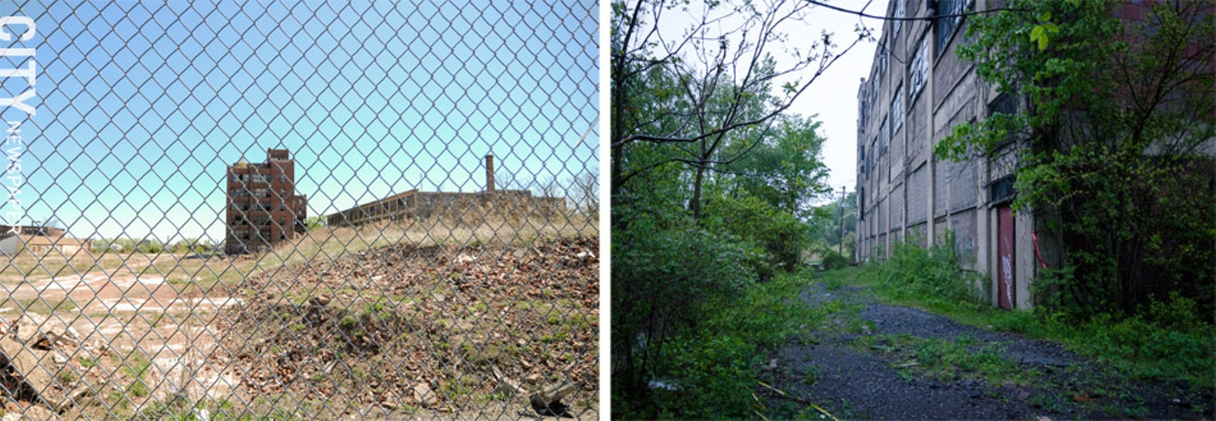 Left: a former industrial site on Whitney street. Right: The Vacuum Oil site in the Plymouth-Exchange neighborhood. - FILE PHOTOS