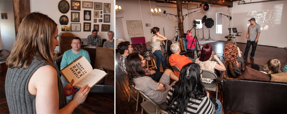 (left) Aprille Roelle Byam moderates the Icarus Sessions. (right) Jason Wilder talks about his street photography at the May Icarus Sessions. - PHOTO COURTESY HANLON-FISKE STUDIOS