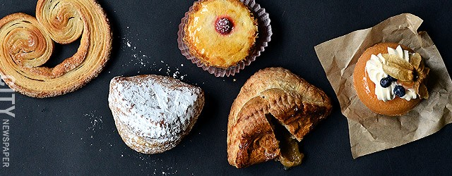 Left to right: palmier, apple turnover, raspberry Chiboust, frangipane, and rum baba from Pittsford Farms Dairy & Bakery.