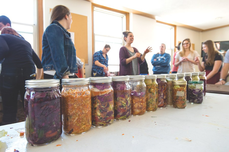 Leila Nadir or EcoArtTech teaches an OS Fermentation workshop. PHOTO COURTESY J. ADAM FENSTER FOR UNIVERSITY OF ROCHESTER