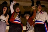 """PHOTO BY JOEY CAMPAGNA, BLUE SWAN MEDIA - Emily Putnam as Eponine; Jimmy Baroom as Marius, Jonas Campagna as Gavroche; and J. Daniel Lauritzon as Enjolras in Pittsford Musicals' """"Les Miserables."""""""