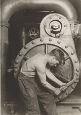 "PHOTO PROVIDED - Lewis Hine's iconic photograph, ""Powerhouse Mechanic,"" is part of the current exhibition on view at George Eastman House through September 7."